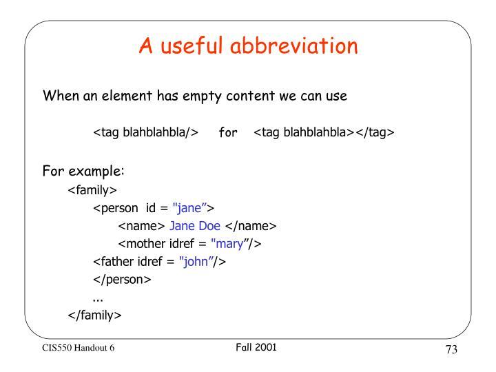 A useful abbreviation