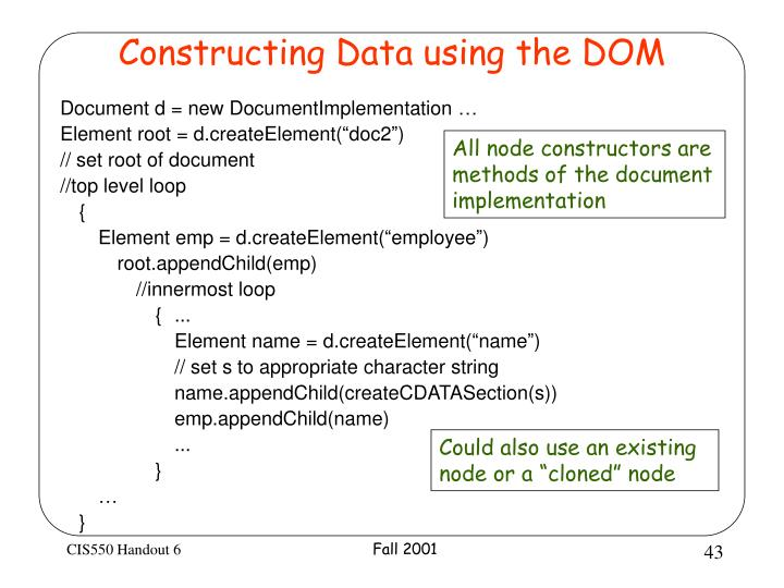 Constructing Data using the DOM