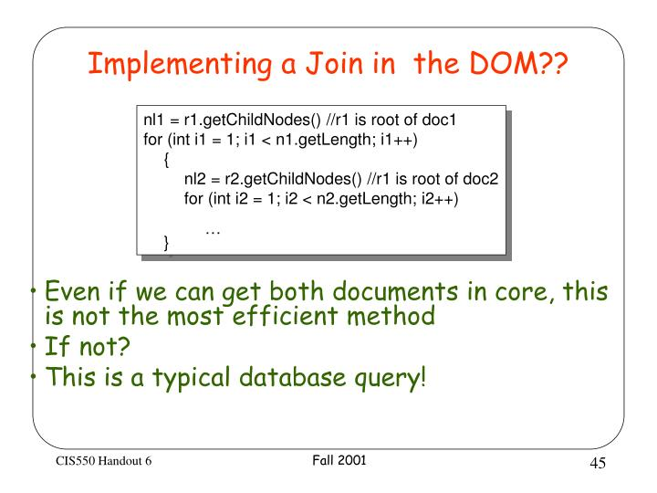 Implementing a Join in  the DOM??