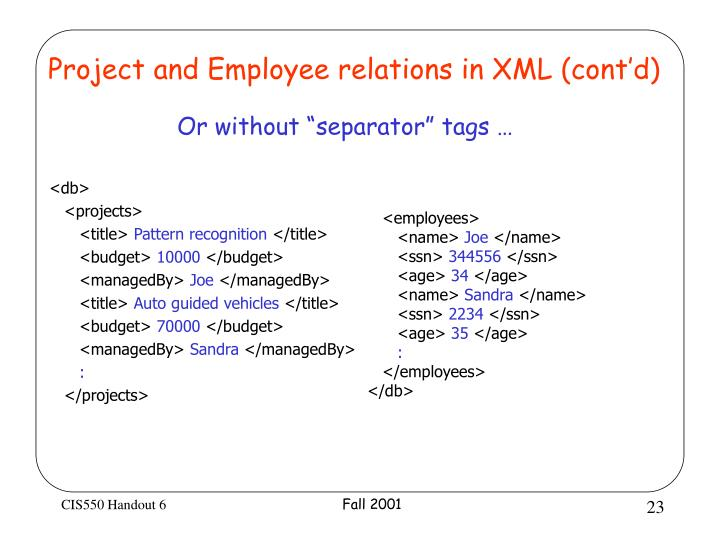 Project and Employee relations in XML (cont'd)