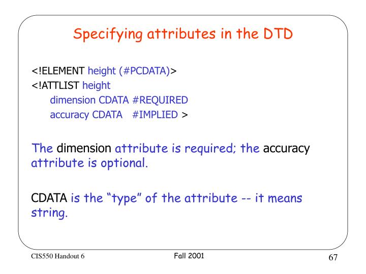Specifying attributes in the DTD