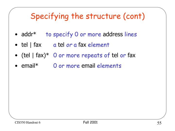 Specifying the structure (cont)