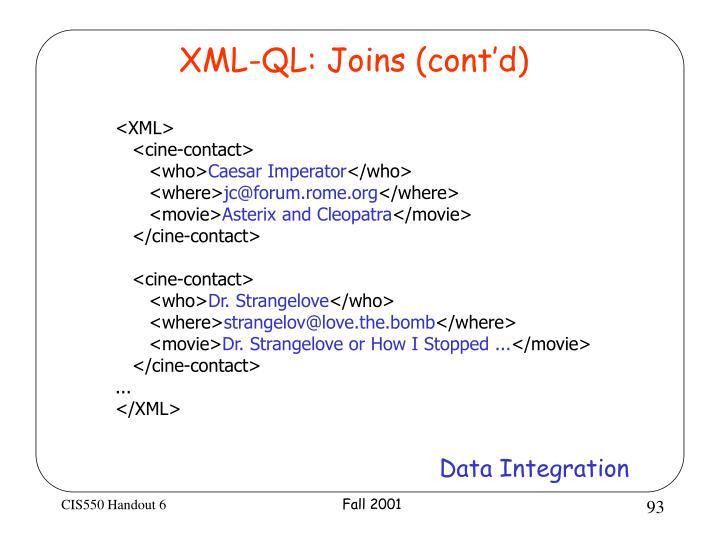 XML-QL: Joins (cont'd)