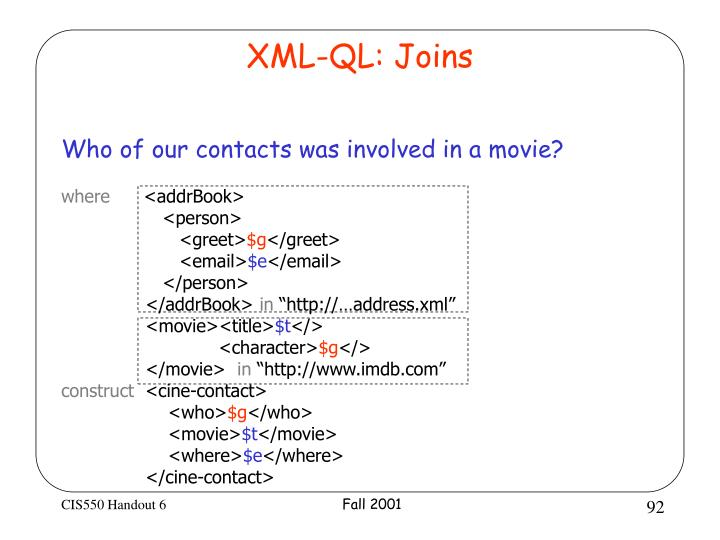 XML-QL: Joins