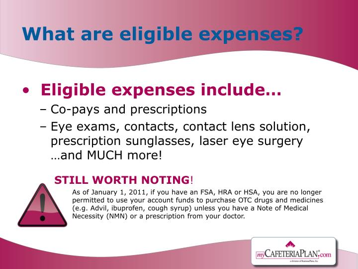 What are eligible expenses?