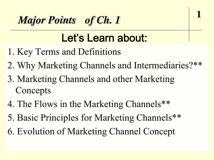 major points of ch 1 n.