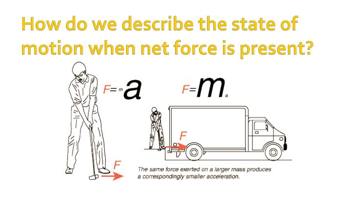 How do we describe the state of motion when net force is present?