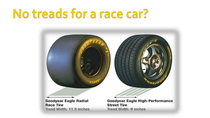 No treads for a race car?