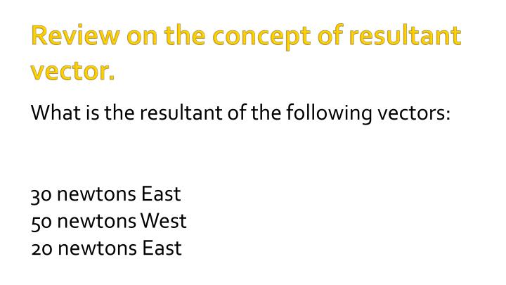 Review on the concept of resultant vector.