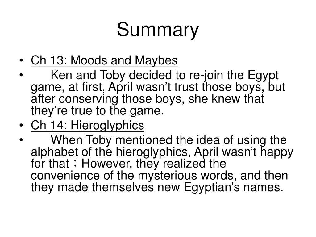 Get The Egypt Game Summary JPG