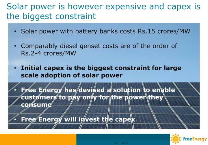 Solar power is however expensive and