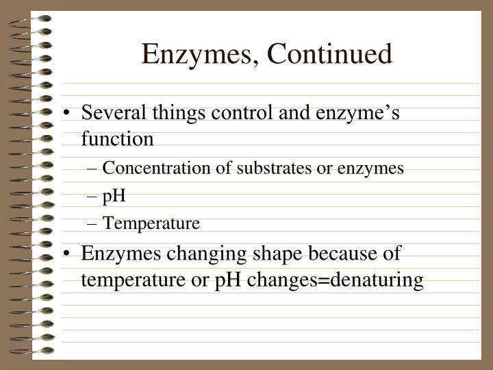 Enzymes, Continued