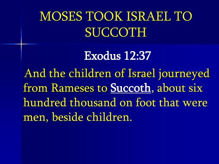 MOSES TOOK ISRAEL TO SUCCOTH