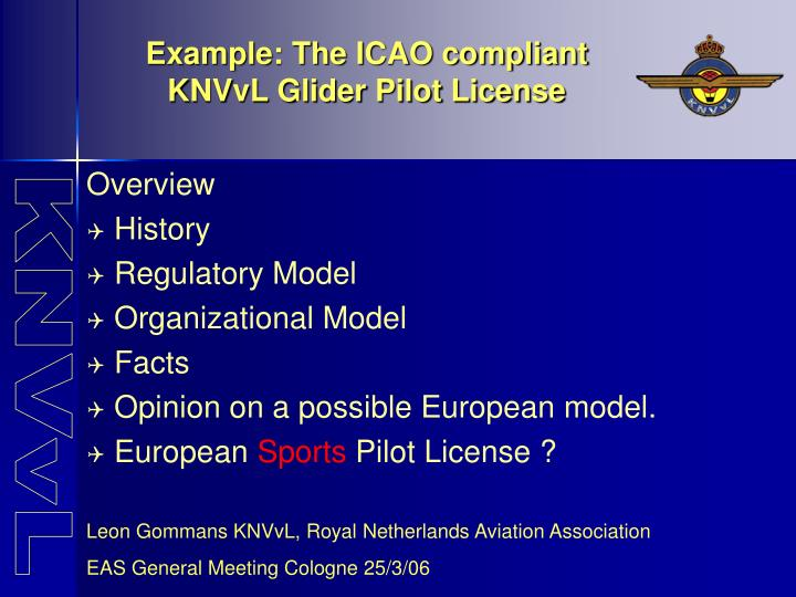 example the icao compliant knvvl glider pilot license n.