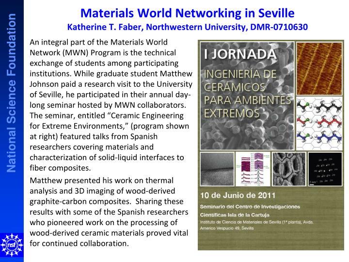 Materials world networking in seville katherine t faber northwestern university dmr 0710630