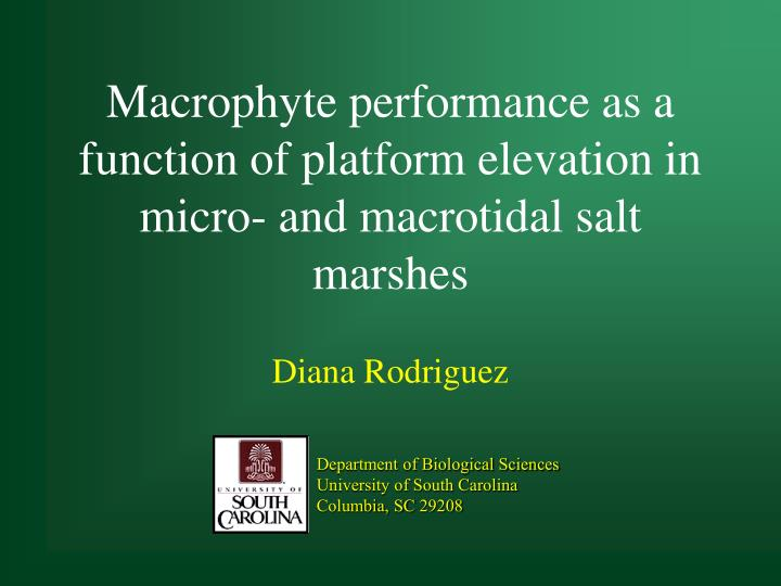 macrophyte performance as a function of platform elevation in micro and macrotidal salt marshes