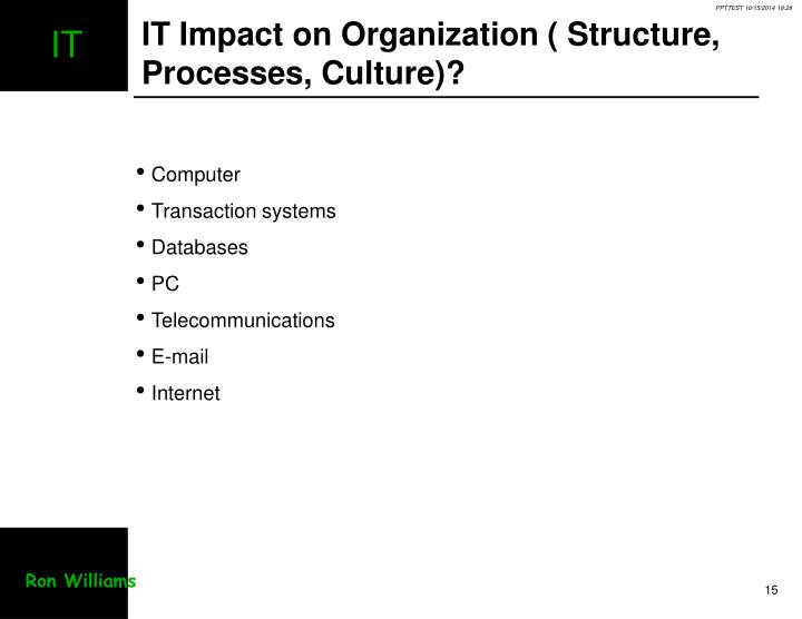 IT Impact on Organization ( Structure, Processes, Culture)?