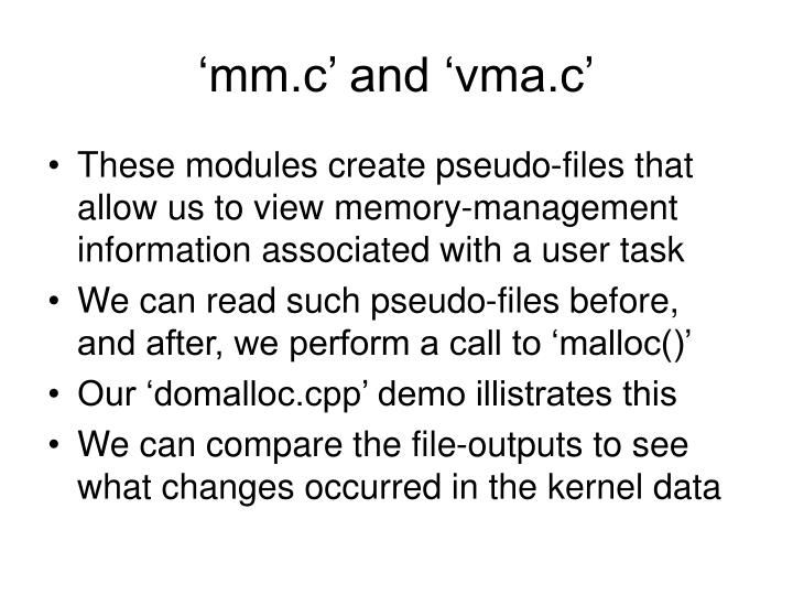 'mm.c' and 'vma.c'