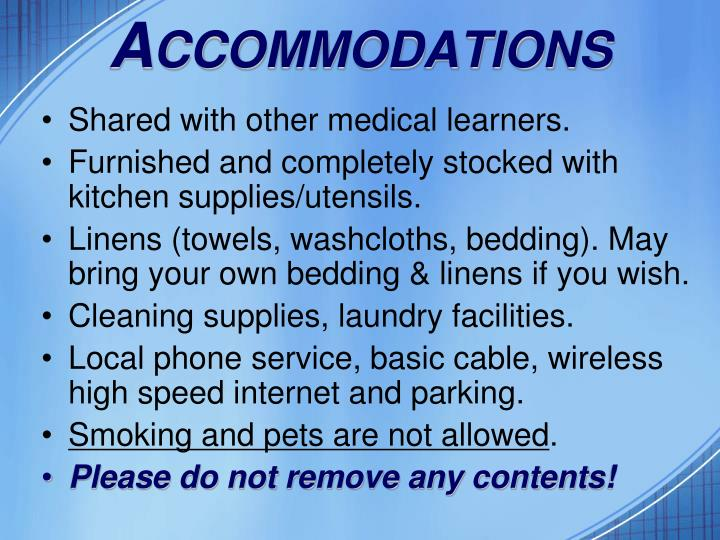 A ccommodations