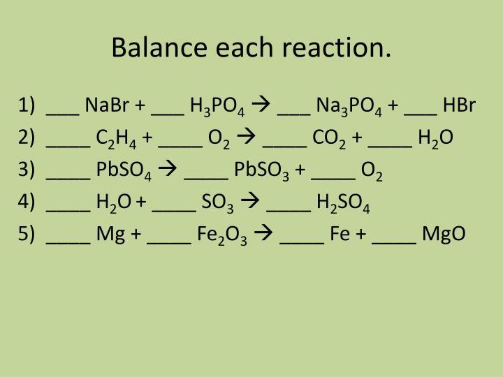 Balance each reaction.