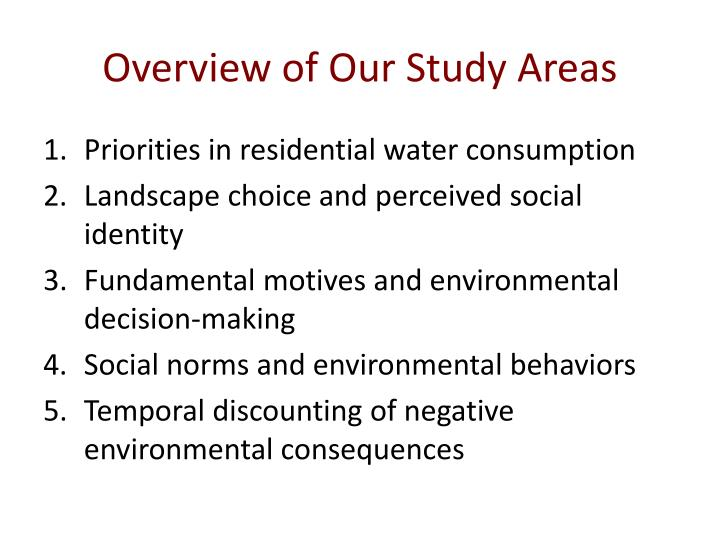 Overview of Our Study Areas