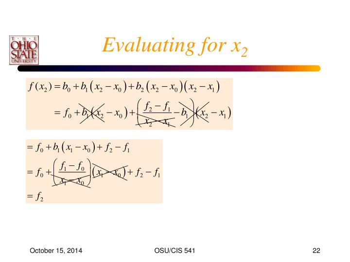 Evaluating for x
