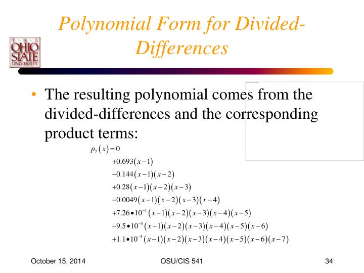Polynomial Form for Divided-Differences