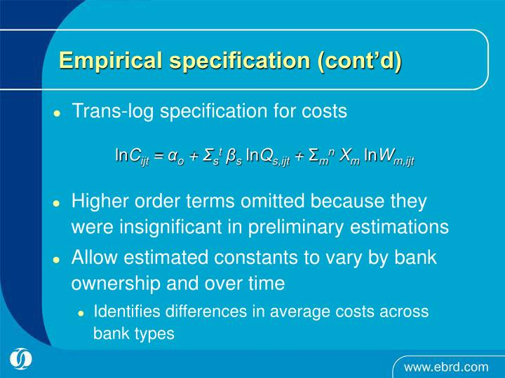 Empirical specification (cont'd)