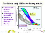 partitions may differ for heavy nuclei