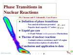 phase transitions in nuclear reactions