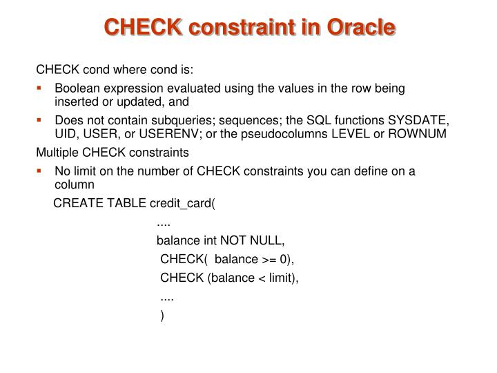 CHECK constraint in Oracle