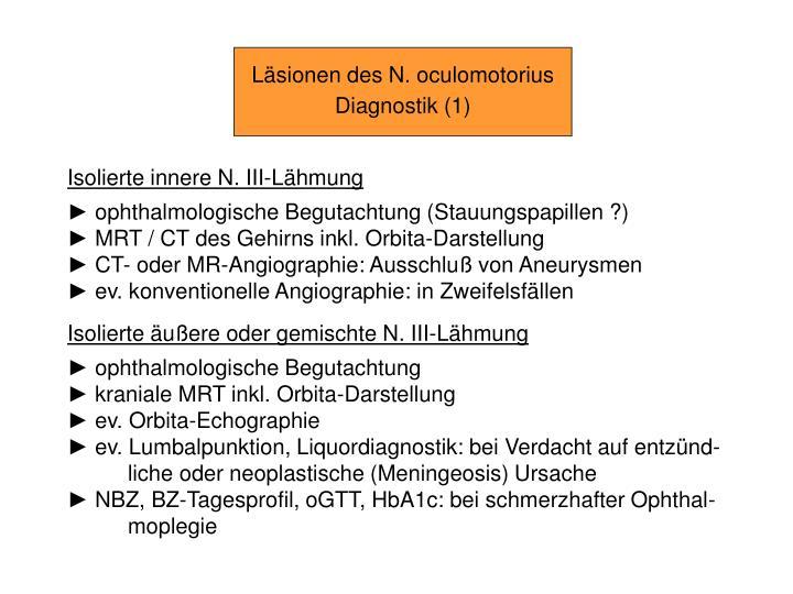 PPT - Hirnnerven-Läsionen N. III, N. IV, N. VI PowerPoint ...