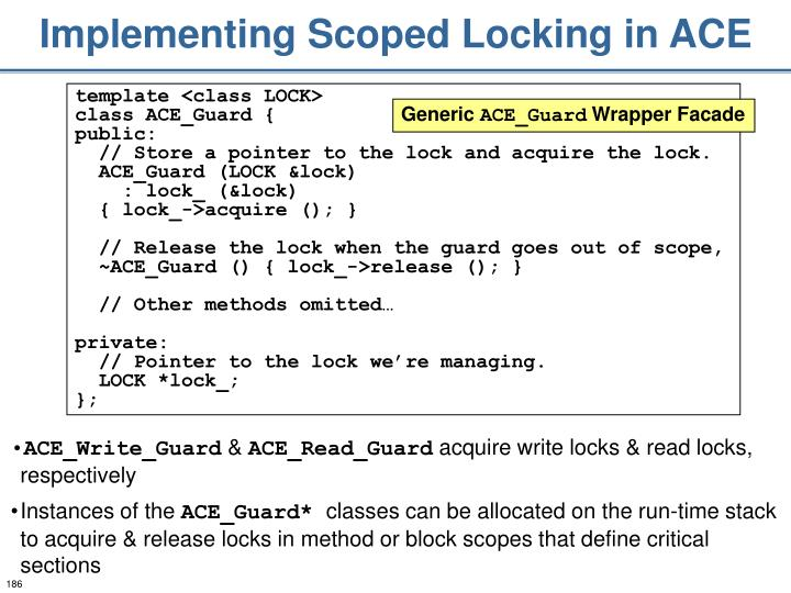 Implementing Scoped Locking in ACE