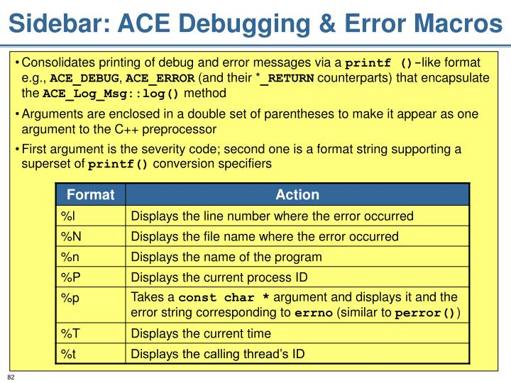 Sidebar: ACE Debugging & Error Macros