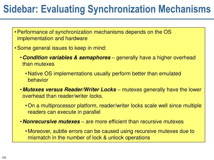 Sidebar: Evaluating Synchronization Mechanisms
