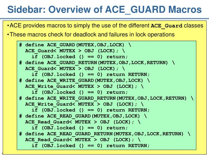 Sidebar: Overview of ACE_GUARD Macros