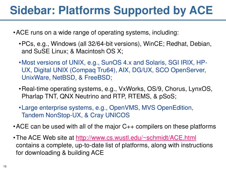 Sidebar: Platforms Supported by ACE