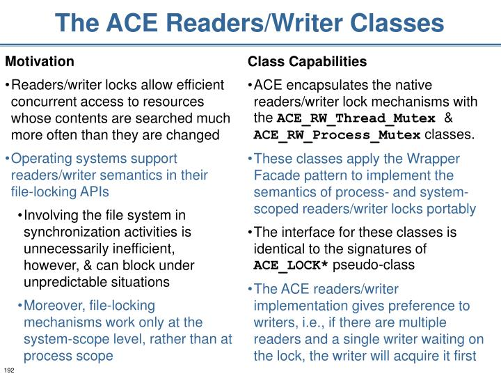 The ACE Readers/Writer Classes