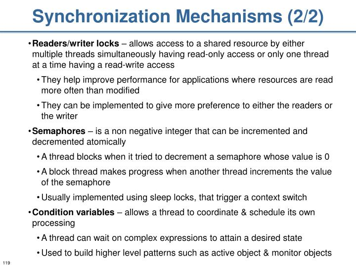 Synchronization Mechanisms (2/2)