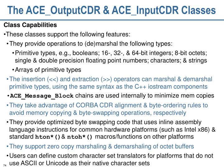 The ACE_OutputCDR & ACE_InputCDR Classes
