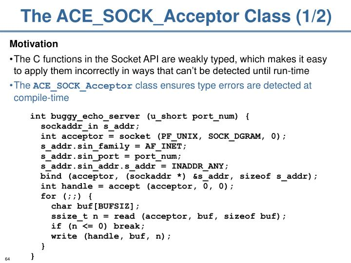 The ACE_SOCK_Acceptor Class (1/2)
