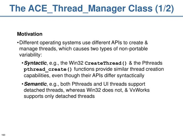 The ACE_Thread_Manager Class (1/2)
