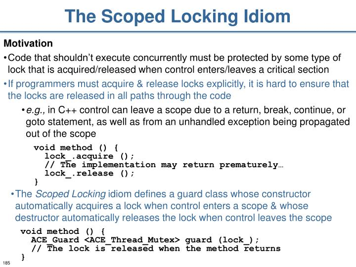 The Scoped Locking Idiom