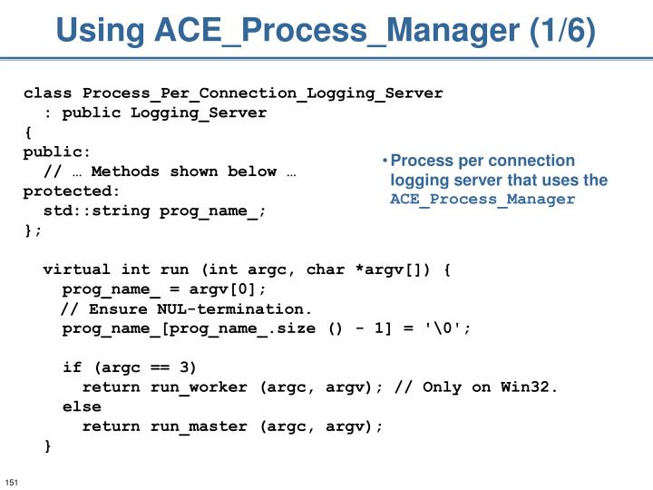 Using ACE_Process_Manager (1/6)