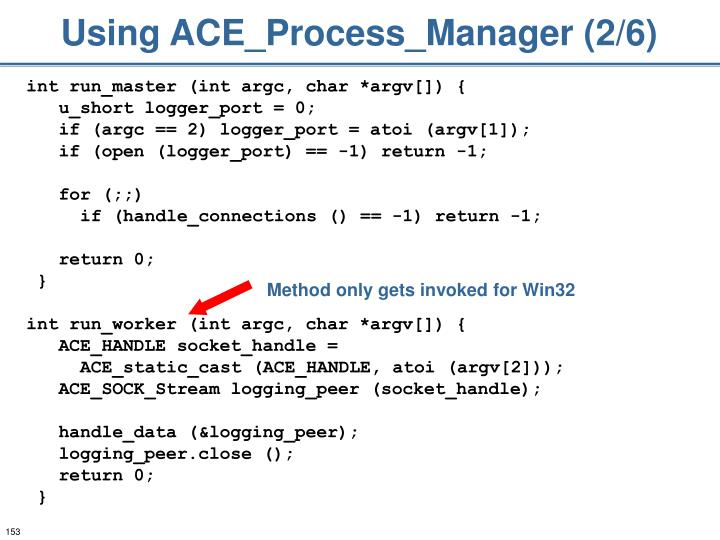 Using ACE_Process_Manager (2/6)