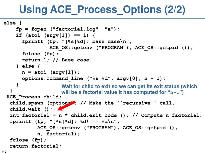 Using ACE_Process_Options (2/2)