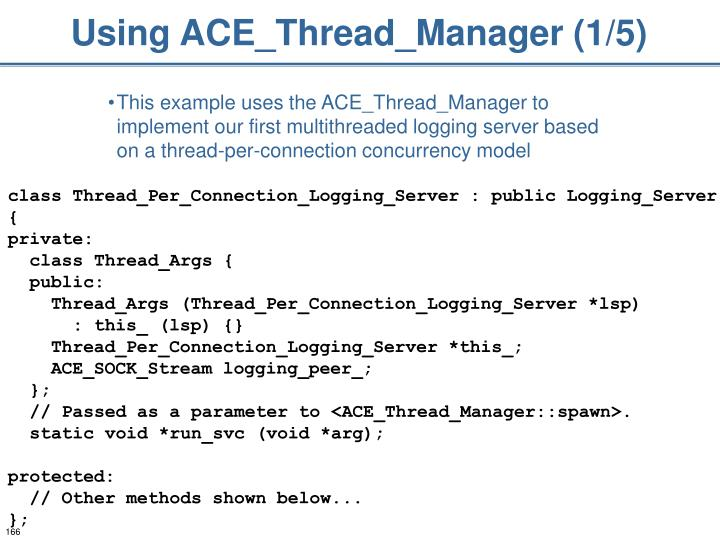 Using ACE_Thread_Manager (1/5)