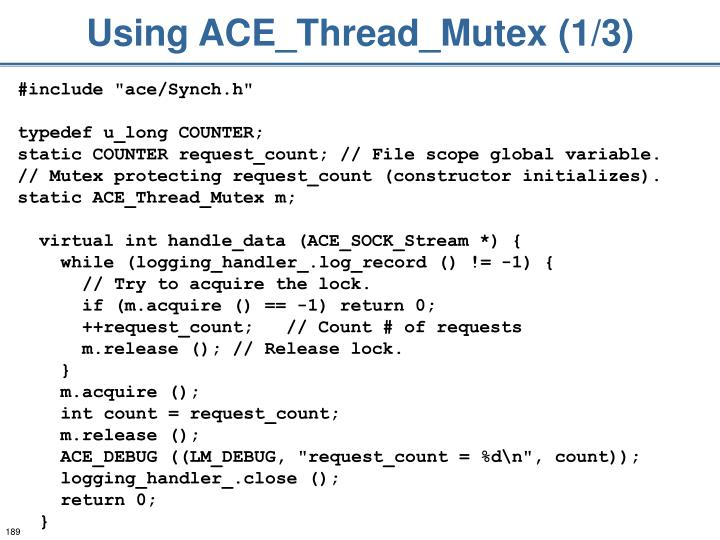 Using ACE_Thread_Mutex (1/3)
