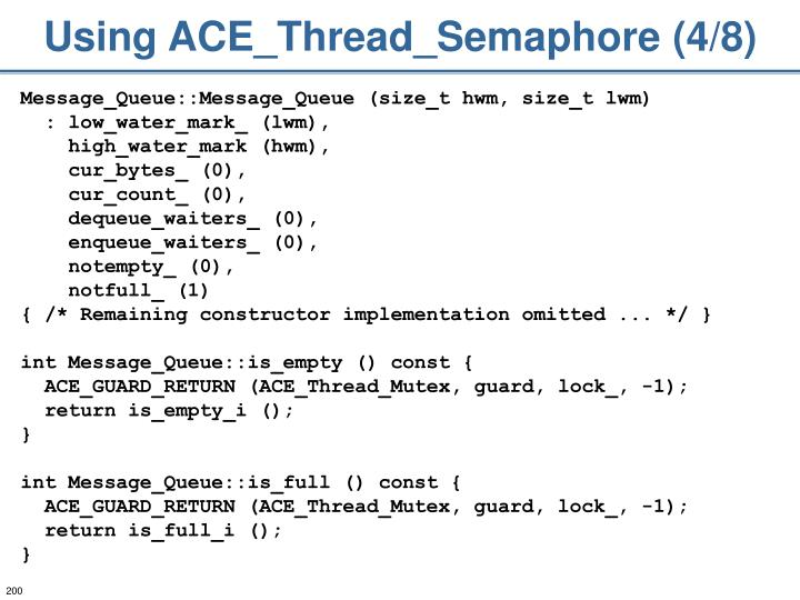 Using ACE_Thread_Semaphore (4/8)