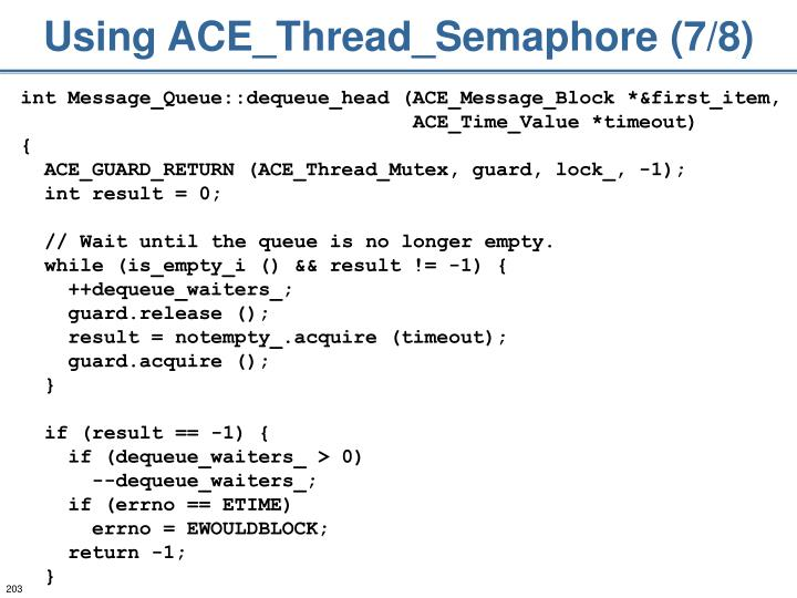 Using ACE_Thread_Semaphore (7/8)